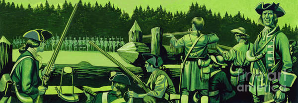 Wall Art - Painting - William Johnson's Camp Was Fortified With A Breastwork Of Logs by Ron Embleton