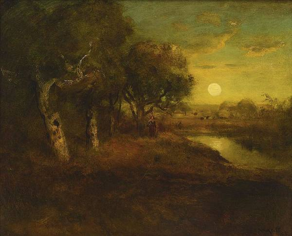 Painting - William Keith 1839 - 1911 Oaks By Moonlight by Artistic Panda
