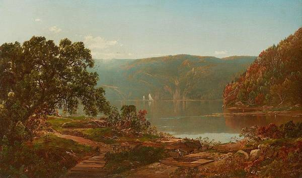 Painting - William Louis Sonntag 1822  1900 Morning On The Cro Nest Hudson River 1864 by Artistic Panda