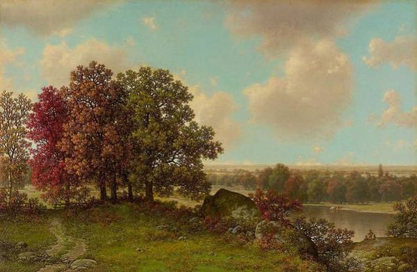 Painting - William Mason Brown 1828  1898 Autumn Landscape by Artistic Panda