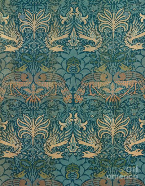 Doodle Painting - William Morris Peacock And Dragon Textile Design by William Morris