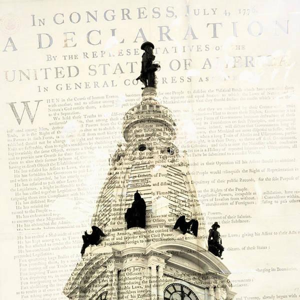 Declaration Of Independence Digital Art - William Penn City Hall by Brandi Fitzgerald