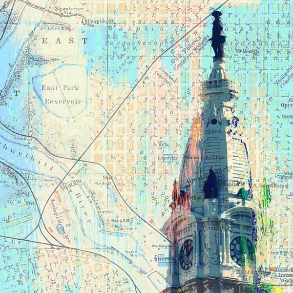 Philadelphia Phillies Digital Art - William Penn City Hall V2 by Brandi Fitzgerald