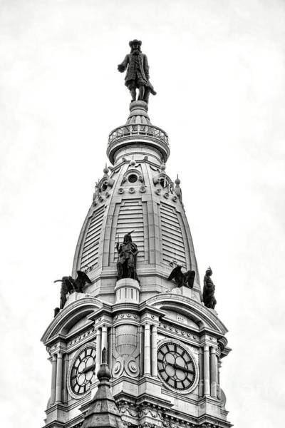 Photograph - William Penn Statue Atop Philadelphia City Hall by Olivier Le Queinec