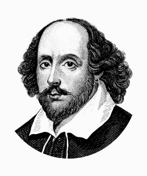 Literary Wall Art - Digital Art - William Shakespeare - The Bard - Black And White by War Is Hell Store