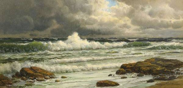 Painting - William Trost Richards 1833 - 1905 Along The Coast by Artistic Panda