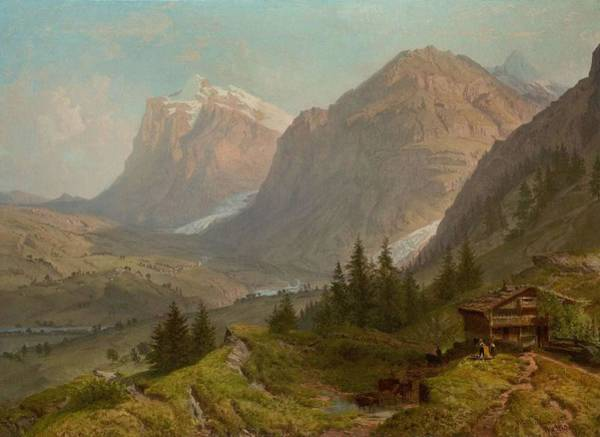 Painting - William Trost Richards 1833  1905 Alpine Landscape 1860 by Artistic Panda