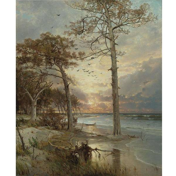 Painting - William Trost Richards 1833-1905 At Atlantic City by Artistic Panda