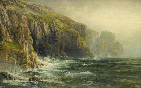Painting - William Trost Richards 1833 - 1905 Cliffs And Waves by Artistic Panda