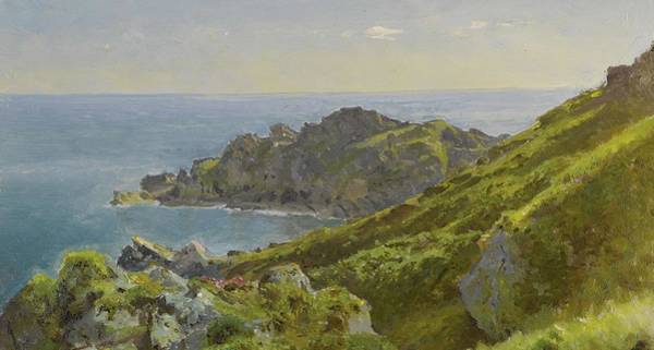 Painting - William Trost Richards 1833 - 1905 Coastline With Grassy Slope by Artistic Panda