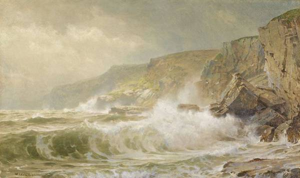 Painting - William Trost Richards 1833 - 1905 Gray Cliff - Conanicut by Artistic Panda