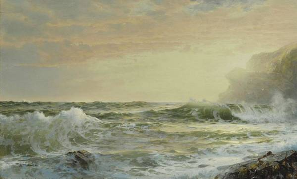 Painting - William Trost Richards 1833 - 1905 Twilight, Horsehead Rock, Conanicut Island In The Narragansett Ba by Artistic Panda