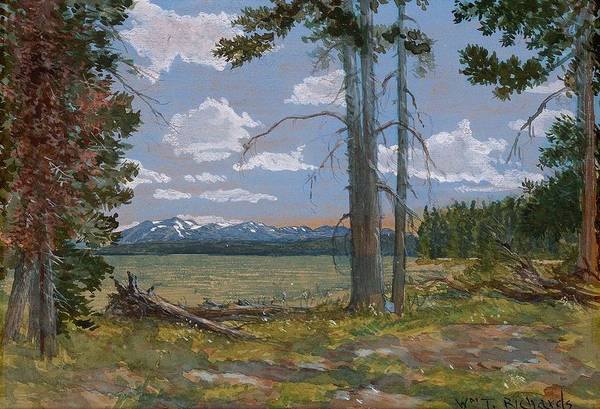 Painting - William Trost Richards 1833  1905  Yellowstone Lake Mt. Sheridan In The Distance by Artistic Panda