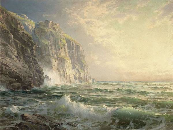 Painting - William Trost Richards - Rocky Cliff With Stormy Sea, Cornwall by Artistic Panda