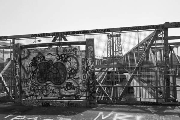 Photograph - Williamsburg Bridge Graffiti Black And White by Toby McGuire