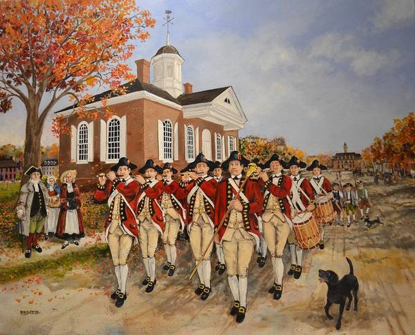 Courthouse Painting - Williamsburg Fife And Drum  by Ebb Pate