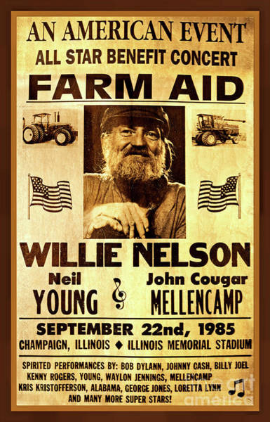 Neil Young Photograph - Willie Nelson 1985 Vintage Farm Aid Poster by John Stephens