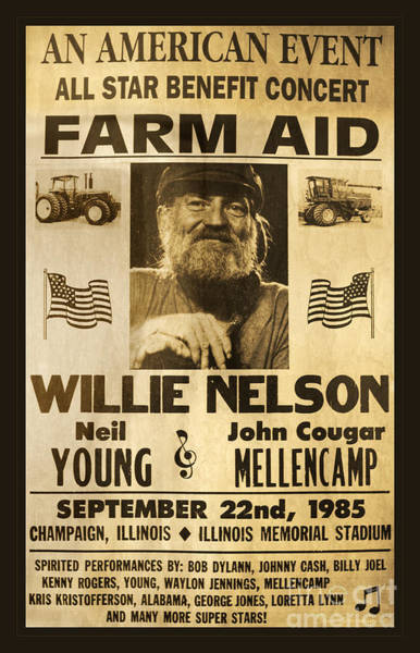 Cash Photograph - Willie Nelson Neil Young 1985 Farm Aid Poster by John Stephens