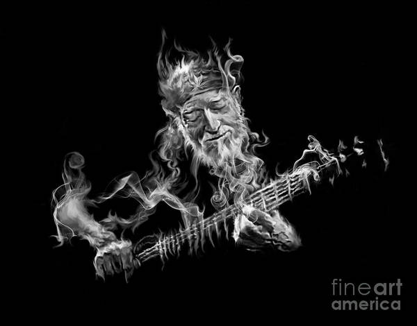 Painting - Willie - Up In Smoke by Rob Corsetti