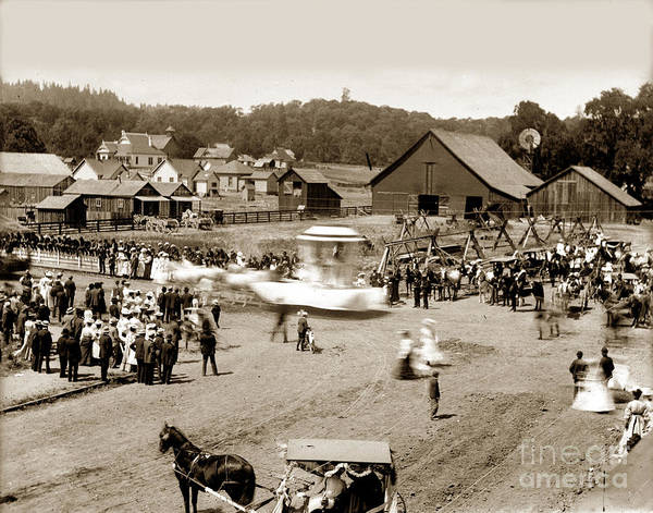 Photograph - Parade Willits Mendocino County California Circa 1905 by California Views Archives Mr Pat Hathaway Archives