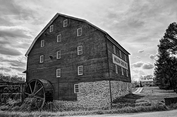 Photograph - Willow Grove Mill 2 Black And White by Lara Ellis