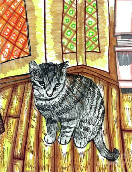 Tabby Drawing - Willow Kitty by Ally Spray
