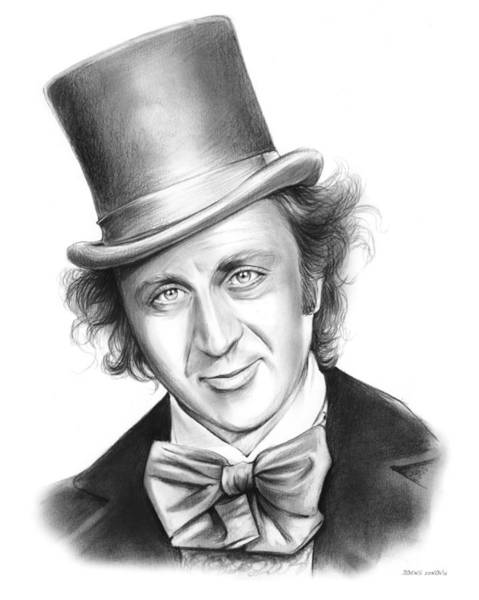 Movie Drawing - Willy Wonka by Greg Joens