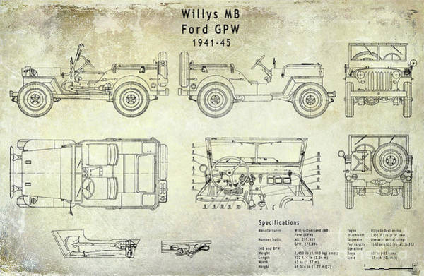 Wwii Photograph - Willys Jeep Blueprint by Jon Neidert