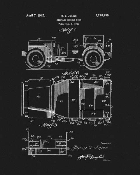 Wall Art - Drawing - Willy's Military Jeep Patent by Dan Sproul