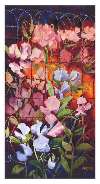 Wall Art - Painting - Wilma's Sweet Peas by Mike Hill