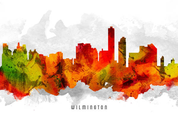Wilmington Delaware Wall Art - Painting - Wilmington Delaware Cityscape 15 by Aged Pixel