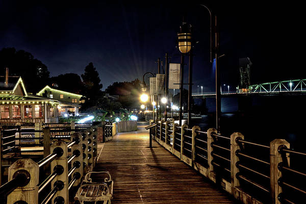 Wall Art - Photograph - Wilmington Riverwalk At Night - North Carolina by Brendan Reals