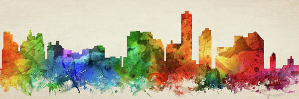 Wall Art - Digital Art - Wilmington Skyline Panorama Usdewi-pa03 by Aged Pixel