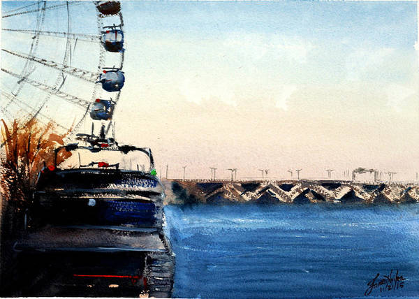Wall Art - Painting - Wilson Bridge From National Harbour by James Nyika