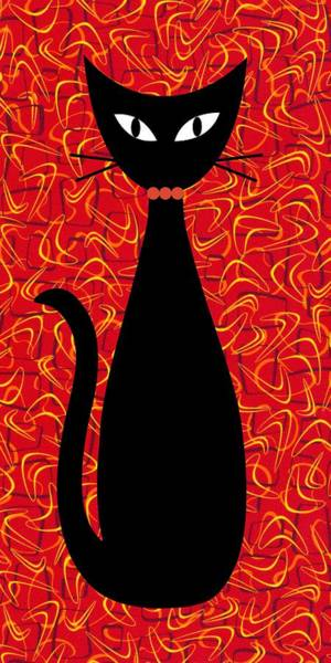 Digital Art - Boomerang Cat In Red by Donna Mibus