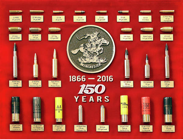 Upland Wall Art - Painting - Winchester 150th Anniversary Commemorative Cartridge Board by Unknown