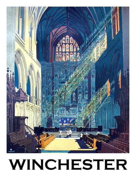 Wall Art - Painting - Winchester Cathedral, England, Travel Poster by Long Shot