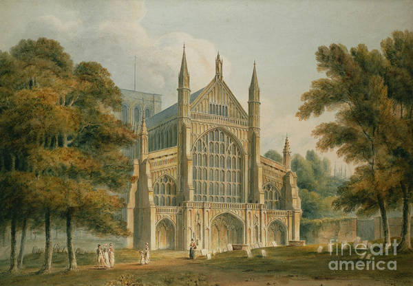 Facade Painting - Winchester Cathedral by John Buckler