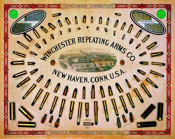 Upland Wall Art - Painting - Winchester Government Contractor Cartridge Board by Unknown