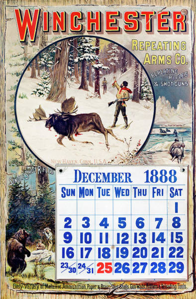 Painting - 1888 Winchester Repeating Arms And Ammunition Calendar by Unknown