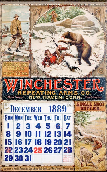 Painting - 1889 Winchester Repeating Arms And Ammunition Calendar by A B Frost