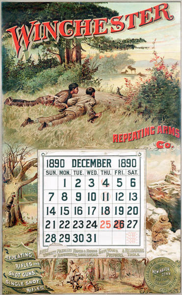 Wall Art - Painting - 1890 Winchester Repeating Arms And Ammunition Calendar by Unknown