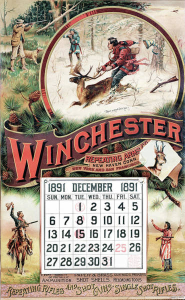 Wall Art - Painting - 1891 Winchester Repeating Arms And Ammunition Calendar by Fredrick Remington