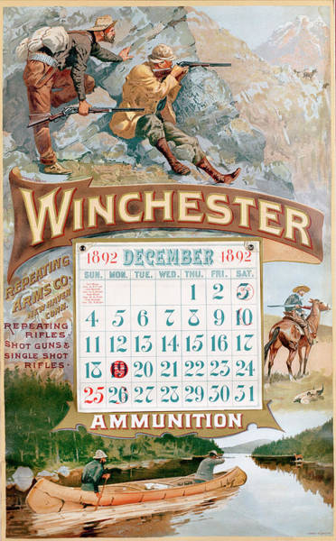 Painting - 1892 Winchester Repeating Arms And Ammunition Calendar by Fredrick Remington