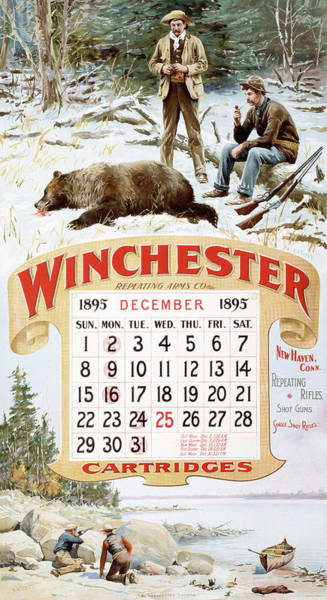 Painting - 1895 Winchester Repeating Arms And Ammunition Calendar by A B Frost