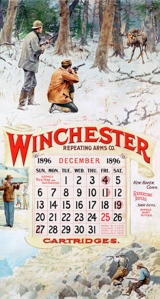 Painting - 1896 Winchester Repeating Arms And Ammunition Calendar by A B Frost