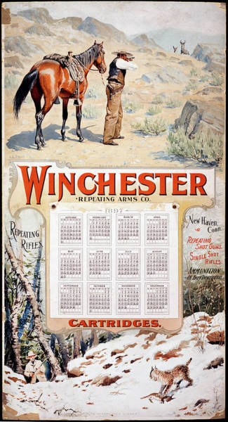Painting - 1897 Winchester Repeating Arms And Ammunition Calendar by A B Frost
