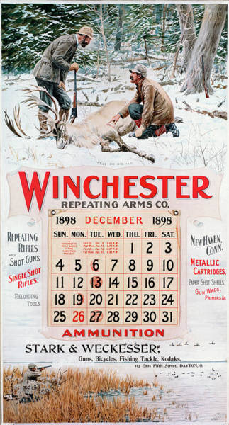 Painting - 1898 Winchester Repeating Arms And Ammunition Calendar by A B Frost