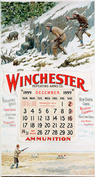 Painting - 1899 Winchester Repeating Arms And Ammunition Calendar by A B Frost