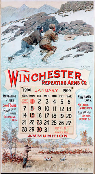 Painting - 1900 Winchester Repeating Arms And Ammunition Calendar by A B Frost